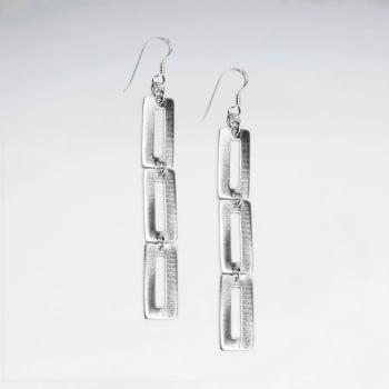 Matte Silver Openwork Rectangle Cascade Earrings