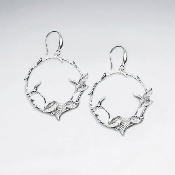 Matte Silver Openwork Vine Hoop Earrings