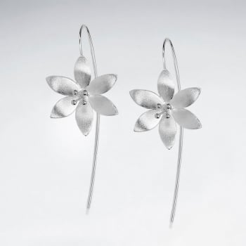 Matte Silver Peaceful Blossoms Threader Hook Earrings