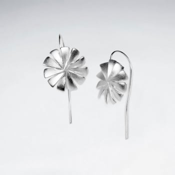 Matte Silver Pinwheel Flower Long Back Earrings