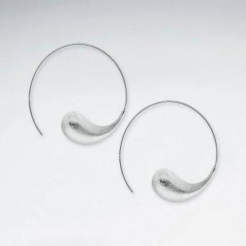 Matte Silver Progressive Swirl Open Hoop Earrings