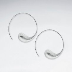 Matte Silver Progressive Swirl Open Hoop Earrings