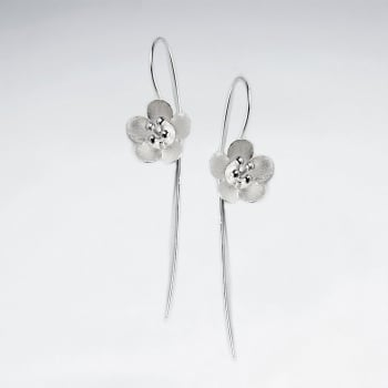 Matte Silver Sophisticated Designs Flower Threader Earrings