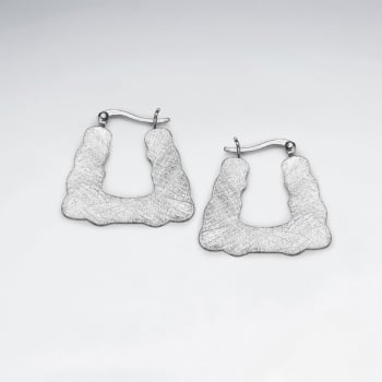 Matte Silver Squared Silhouette Hoop-Style Earrings