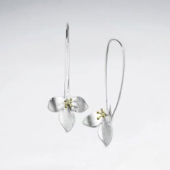 Matte Silver Triple Petal Flower Threader Earrings