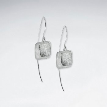 Matte Sophisticated Silver Square Dangle Drop Hook Earrings