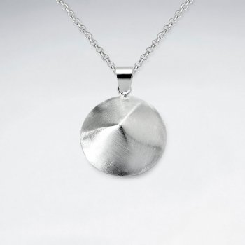 Matte Sterling Silver Round Circle Pendant