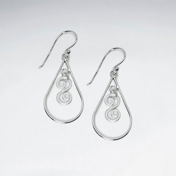 Matted Gorgeous Ornate Open Teardrop Earrings With Stunning Silver  Details With Partial Sand Blasted Finishing