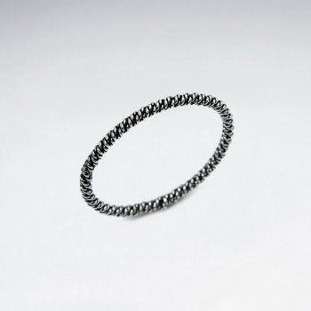Max Style Oxidized Silver Textured Band Ring