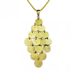 Medallion Cascade Gold Tone Pendant in Sterling Silver