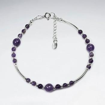 Meditative Amethyst & Silver Bead Bracelet