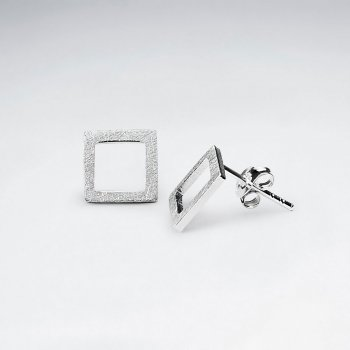 Mix Brushed Open Square Silver Earring