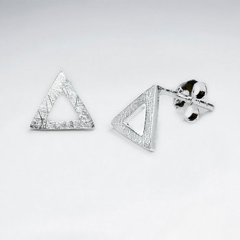 Mix Brushed Open Triangle Silver Earring