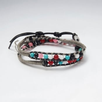 Mixed Colors Beaded Leather Wrap Bracelet