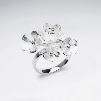 Mixed Flower Bouquet Sterling Silver Ring