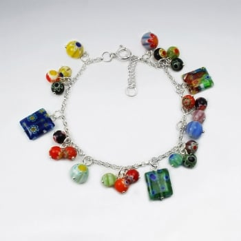 Mixed Glass Bead Chunky Style Adjustable Clasp Bracelet