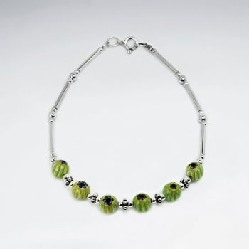 Mixed Glass Bead & Silver Spacers Clasp Bracelet