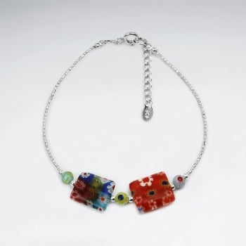 Mixed Glass Flowers Square Bead Bracelet