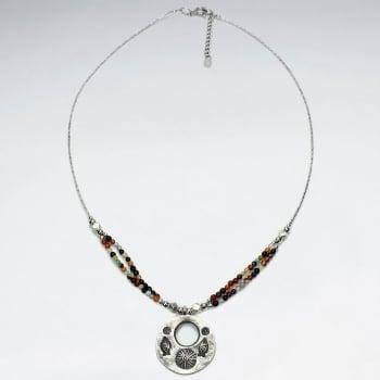Mixed Stone Open Circle Silver Pendant Necklace