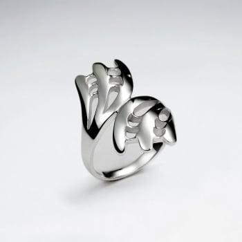 Modern Art Sterling Silver Statement Ring