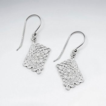 Modern Glam Rectangle Filigree Dangle Drop Hook Earrings With Flower Cut Out