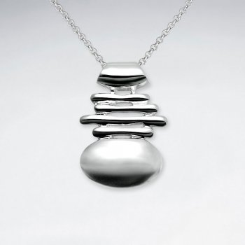 Modern Glam Silver Round Drop Suspended Pendant