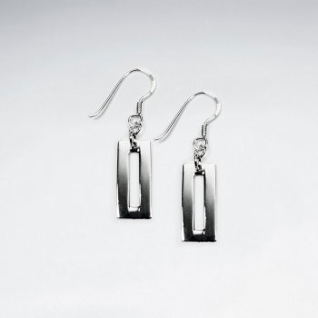 Modern Silver Open Rectangle Earrings