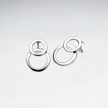 Modern Sterling Silver Stud Double Overlapped Circle Earrings
