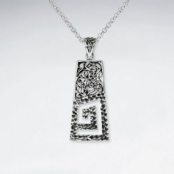 Modern Textured Rectangle Open Spiral Design Oxidized Pendant