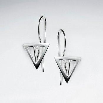 Modern Triangle Silver Dangle Hook Earrings