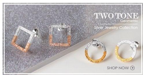 Two Tone Geometric Silver Jewelry Wholesale