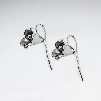Morning Glory Inspired Flower Earrings in Oxidized Silver