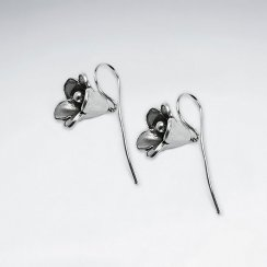 Morning Glory Inspired Flower Earrings in Oxidized Silver