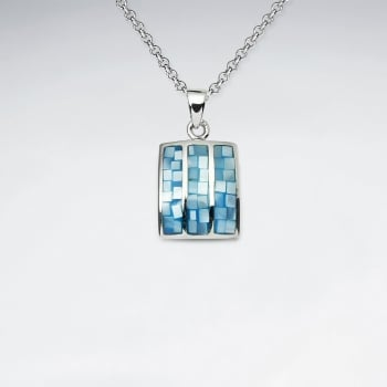 Mosaic Square Sterling Silver Shell Pendant