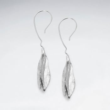 Mother Nature Sterling Silver Abstract Leaf Earrings