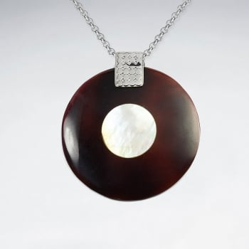 Mother Of Pearl & Betting Bang Shell Disc Silhouette Pendant