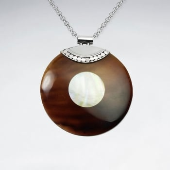 Mother Of Pearl & Betting Bang Shell Light Styles Circle Disc Pendant