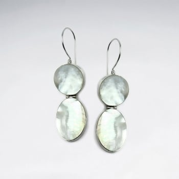 Mother Of Pearl Circle And Oval Dangle Earrings
