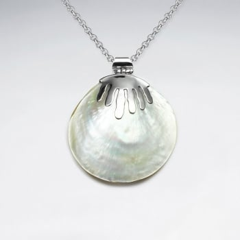 Mother Of Pearl Circle Shell Sterling Silver Pendant