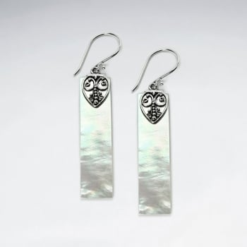 Mother Of Pearl Long Rectangle Ornate Silver Heart Adorned Dangle Earrings
