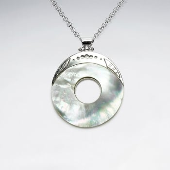 Mother Of Pearl Openwork Circle Disc Sterling Silver Pendant