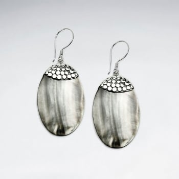 Mother Of Pearl Oval Silver Dotted Accent Dangle Earrings