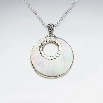 Mother of Pearl Pendant With Dotted Edge