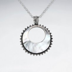 Mother Of Pearl Pendant With Silver Frame