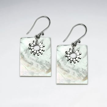 Mother Of Pearl Rectangle Silver Sun Burst Earrings