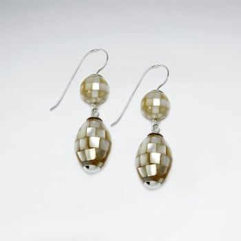 Mother Of Pearl Sparkleball Double Tiered Earrings