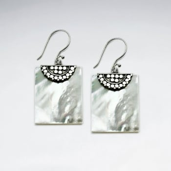 Mother Of Pearl Square Silver Fanned Dangle Hook Earrings