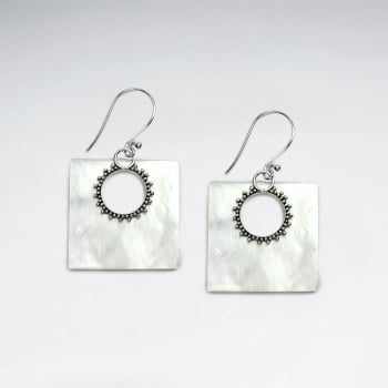 Mother Of Pearl Square Silver  Sunburst Dangle Earrings