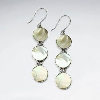 Mother Of Pearl Triple Circle Silhouette Cascade Dangle Hook Earrings
