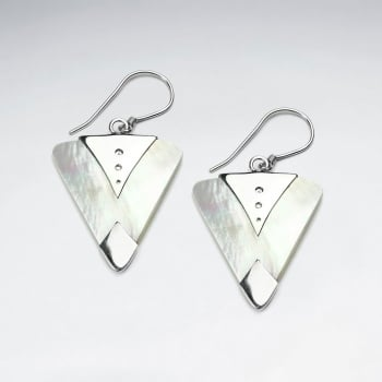 Mother Of Pearl 'Tuxedo' Sterling Silver Triangle Dangle Earrings